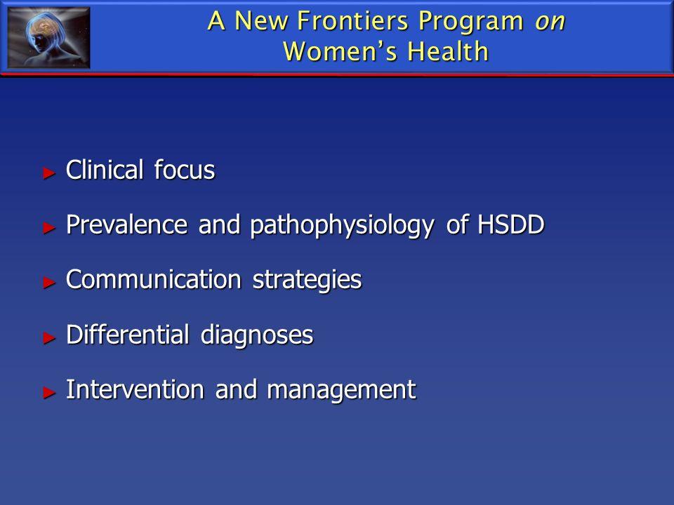 Clinical focus Clinical focus Prevalence and pathophysiology of HSDD Prevalence and pathophysiology of HSDD Communication strategies Communication str