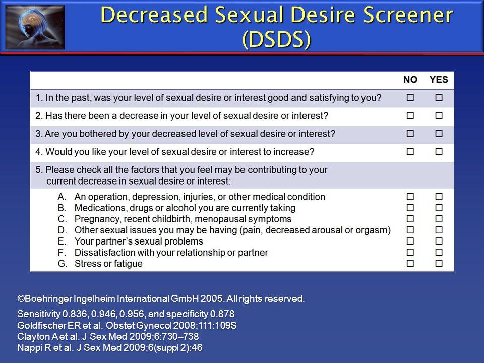 Decreased Sexual Desire Screener (DSDS) ©Boehringer Ingelheim International GmbH 2005. All rights reserved. Sensitivity 0.836, 0.946, 0.956, and speci