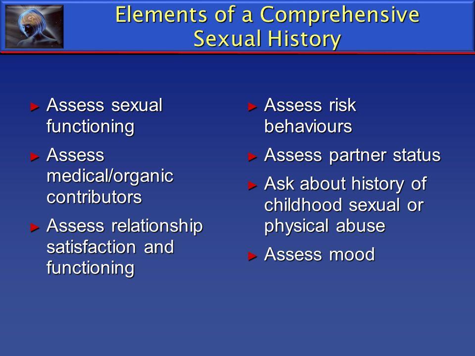 Elements of a Comprehensive Sexual History Assess sexual functioning Assess sexual functioning Assess medical/organic contributors Assess medical/orga