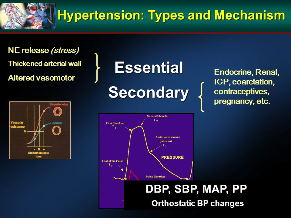 EssentialSecondary Endocrine, Renal, ICP, coarctation, contraceptives, pregnancy, etc.