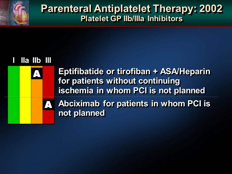 Eptifibatide or tirofiban + ASA/Heparin for patients without continuing ischemia in whom PCI is not planned Abciximab for patients in whom PCI is not