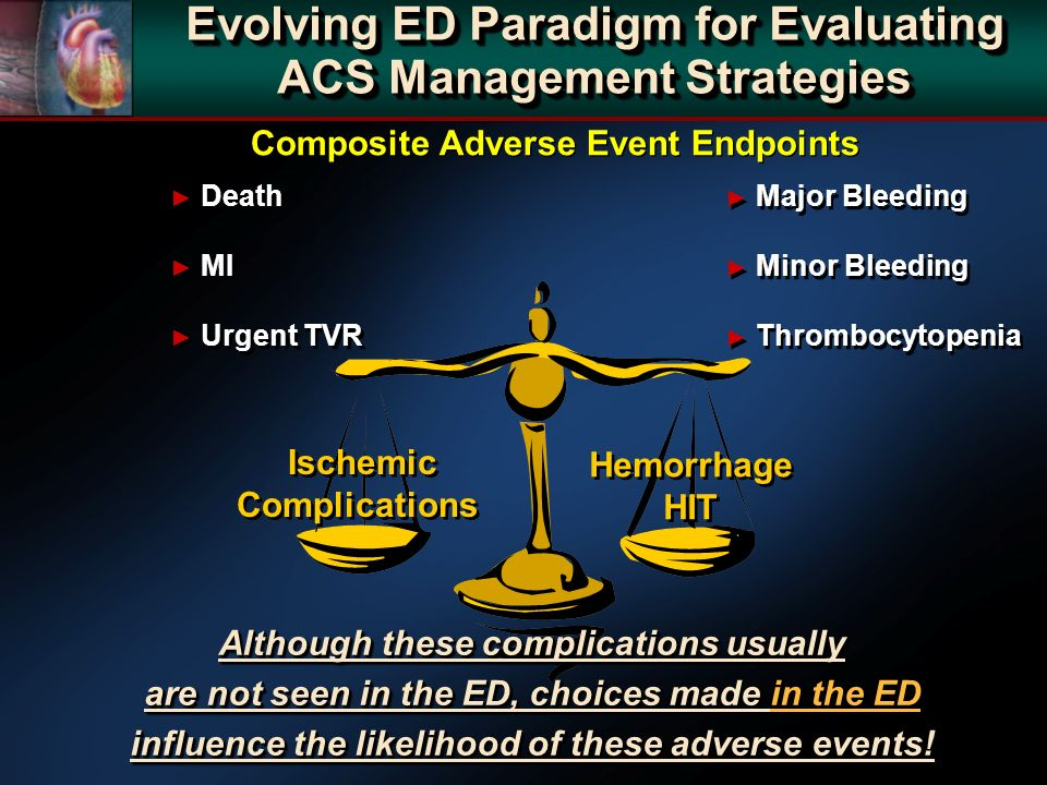 Ischemic Complications Hemorrhage HIT Death MI Urgent TVR Death MI Urgent TVR Major Bleeding Minor Bleeding Thrombocytopenia Major Bleeding Minor Bleeding Thrombocytopenia Composite Adverse Event Endpoints Evolving ED Paradigm for Evaluating ACS Management Strategies Although these complications usually are not seen in the ED, choices made in the ED influence the likelihood of these adverse events.