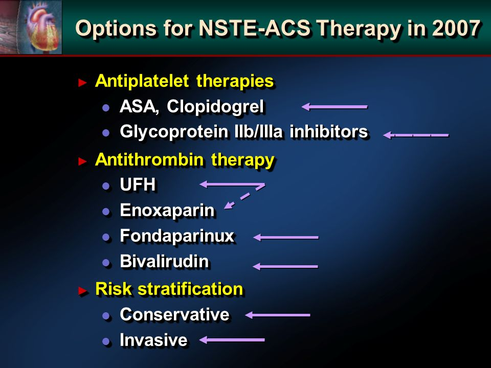 Options for NSTE-ACS Therapy in 2007 Antiplatelet therapies Antiplatelet therapies l ASA, Clopidogrel l Glycoprotein IIb/IIIa inhibitors Antithrombin therapy Antithrombin therapy l UFH l Enoxaparin l Fondaparinux l Bivalirudin Risk stratification Risk stratification l Conservative l Invasive Antiplatelet therapies Antiplatelet therapies l ASA, Clopidogrel l Glycoprotein IIb/IIIa inhibitors Antithrombin therapy Antithrombin therapy l UFH l Enoxaparin l Fondaparinux l Bivalirudin Risk stratification Risk stratification l Conservative l Invasive