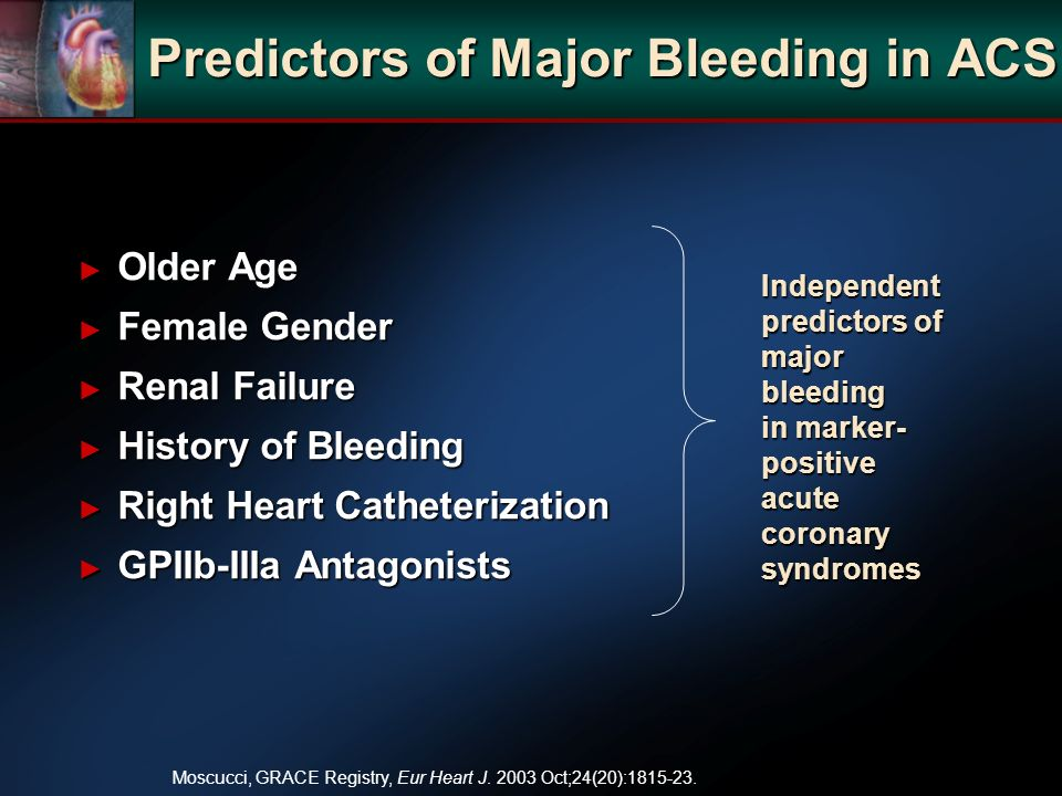 Independent predictors of major bleeding in marker- positive acute coronary syndromes Moscucci, GRACE Registry, Eur Heart J.