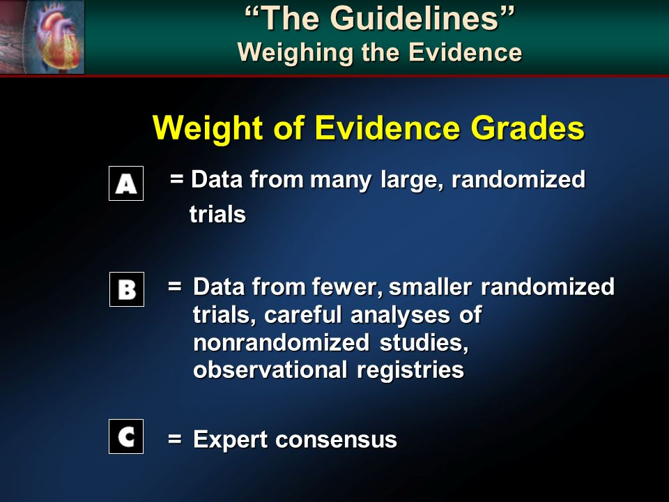 The Guidelines Weighing the Evidence Weight of Evidence Grades Weight of Evidence Grades = Data from many large, randomized trials = Data from many la