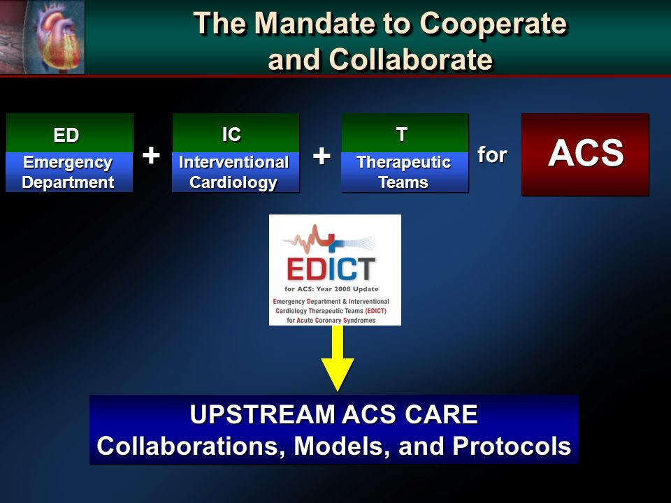UPSTREAM ACS CARE Collaborations, Models, and Protocols UPSTREAM ACS CARE Collaborations, Models, and Protocols The Mandate to Cooperate and Collaborate The Mandate to Cooperate and Collaborate ED EmergencyDepartment IC InterventionalCardiology + + T TherapeuticTeams + + ACS for