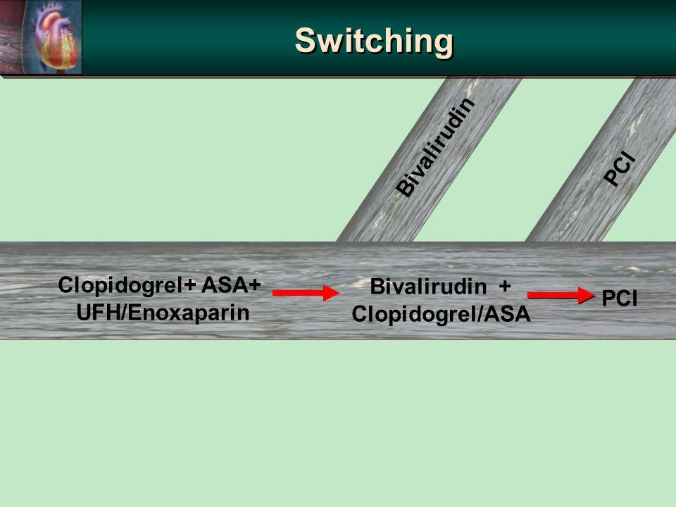 Bivalirudin PCI Clopidogrel+ ASA+ UFH/Enoxaparin Bivalirudin + Clopidogrel/ASA Switching