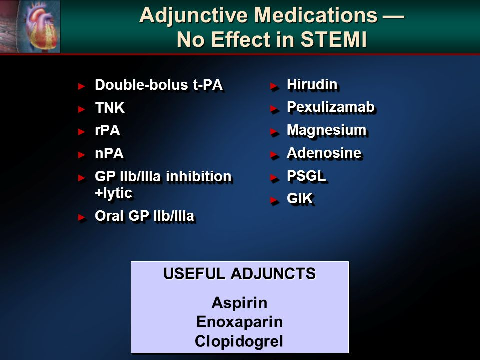 Adjunctive Medications No Effect in STEMI Double-bolus t-PA Double-bolus t-PA TNK TNK rPA rPA nPA nPA GP IIb/IIIa inhibition +lytic GP IIb/IIIa inhibi