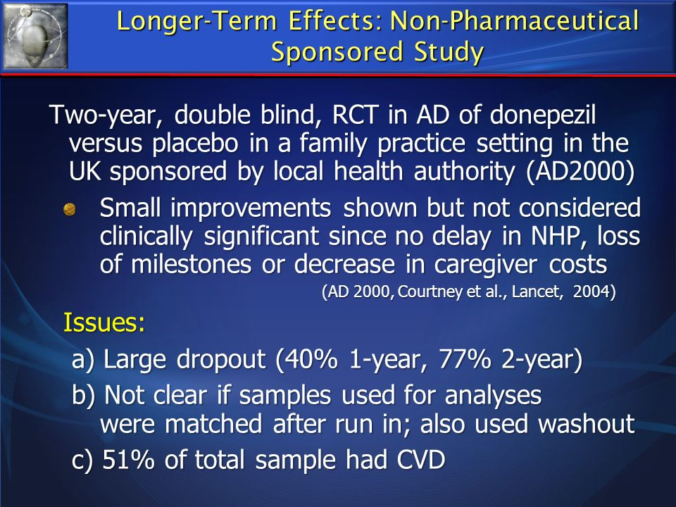 Two-year, double blind, RCT in AD of donepezil versus placebo in a family practice setting in the UK sponsored by local health authority (AD2000) Two-