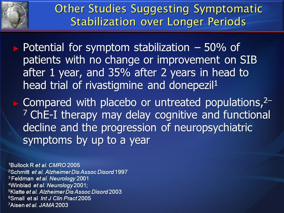 Potential for symptom stabilization – 50% of patients with no change or improvement on SIB after 1 year, and 35% after 2 years in head to head trial o