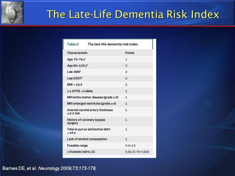 The Late-Life Dementia Risk Index Barnes DE, et al. Barnes DE, et al. Neurology 2009;73;173-179;