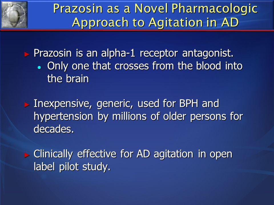 Prazosin as a Novel Pharmacologic Approach to Agitation in AD Prazosin is an alpha-1 receptor antagonist. Prazosin is an alpha-1 receptor antagonist.