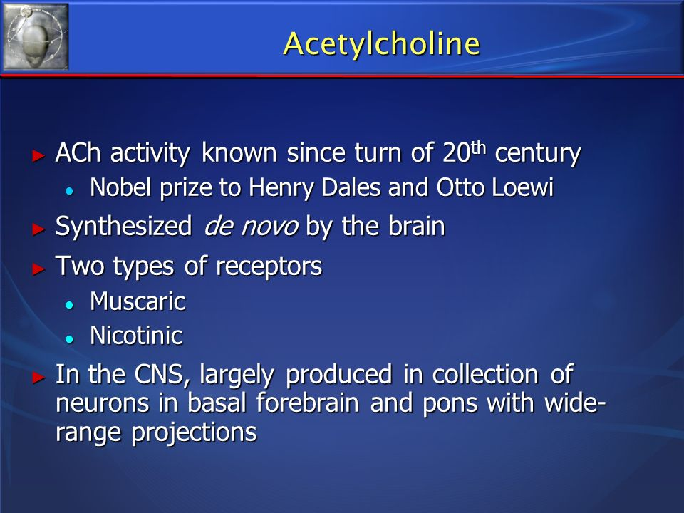 Acetylcholine ACh activity known since turn of 20 th century ACh activity known since turn of 20 th century Nobel prize to Henry Dales and Otto Loewi