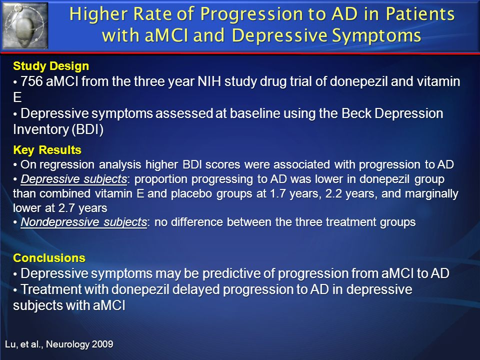 Lu, et al., Neurology 2009 Higher Rate of Progression to AD in Patients with aMCI and Depressive Symptoms Study Design 756 aMCI from the three year NI