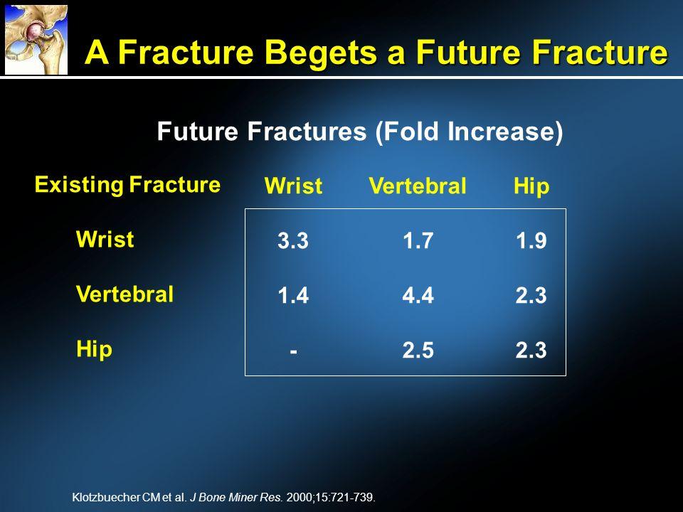 Klotzbuecher CM et al. J Bone Miner Res. 2000;15:721-739. Future Fractures (Fold Increase) Existing Fracture Wrist Vertebral Hip 1.9 2.3 Vertebral 1.7