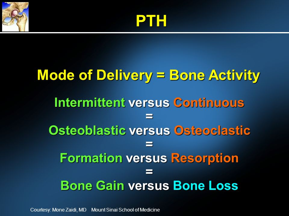Mode of Delivery = Bone Activity Intermittent versus Continuous = Osteoblastic versus Osteoclastic = Formation versus Resorption = Bone Gain versus Bone Loss PTH Courtesy: Mone Zaidi, MD Mount Sinai School of Medicine