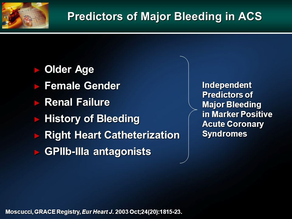 Independent Predictors of Major Bleeding in Marker Positive Acute Coronary Syndromes Moscucci, GRACE Registry, Eur Heart J. 2003 Oct;24(20):1815-23. P