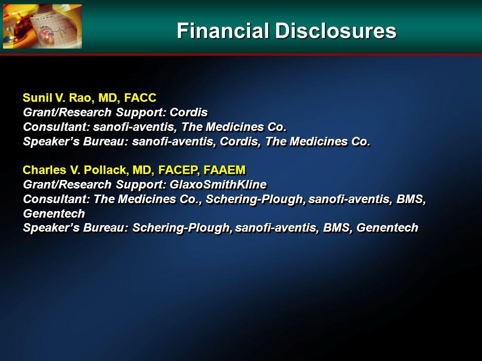 Financial Disclosures Sunil V. Rao, MD, FACC Grant/Research Support: Cordis Consultant: sanofi-aventis, The Medicines Co. Speakers Bureau: sanofi-aven