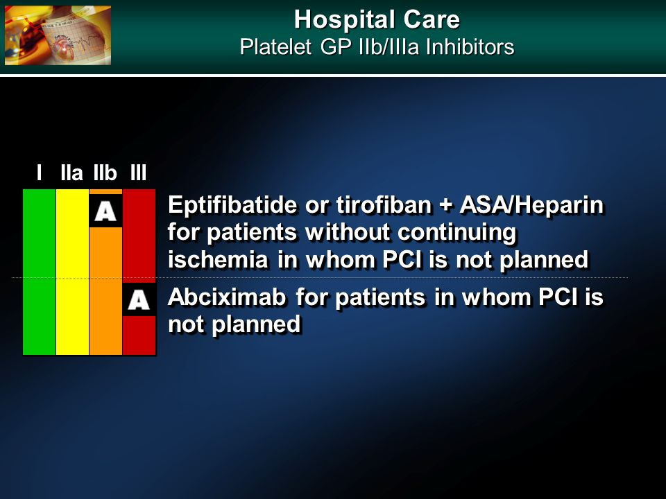 Hospital Care Platelet GP IIb/IIIa Inhibitors Eptifibatide or tirofiban + ASA/Heparin for patients without continuing ischemia in whom PCI is not plan
