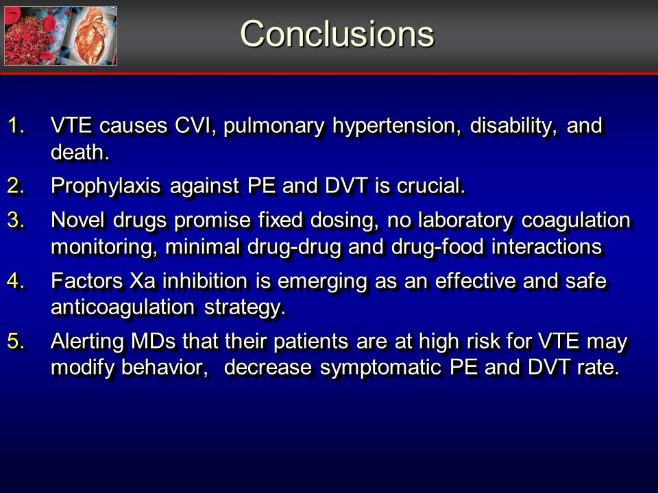 Conclusions 1.VTE causes CVI, pulmonary hypertension, disability, and death. 2.Prophylaxis against PE and DVT is crucial. 3.Novel drugs promise fixed