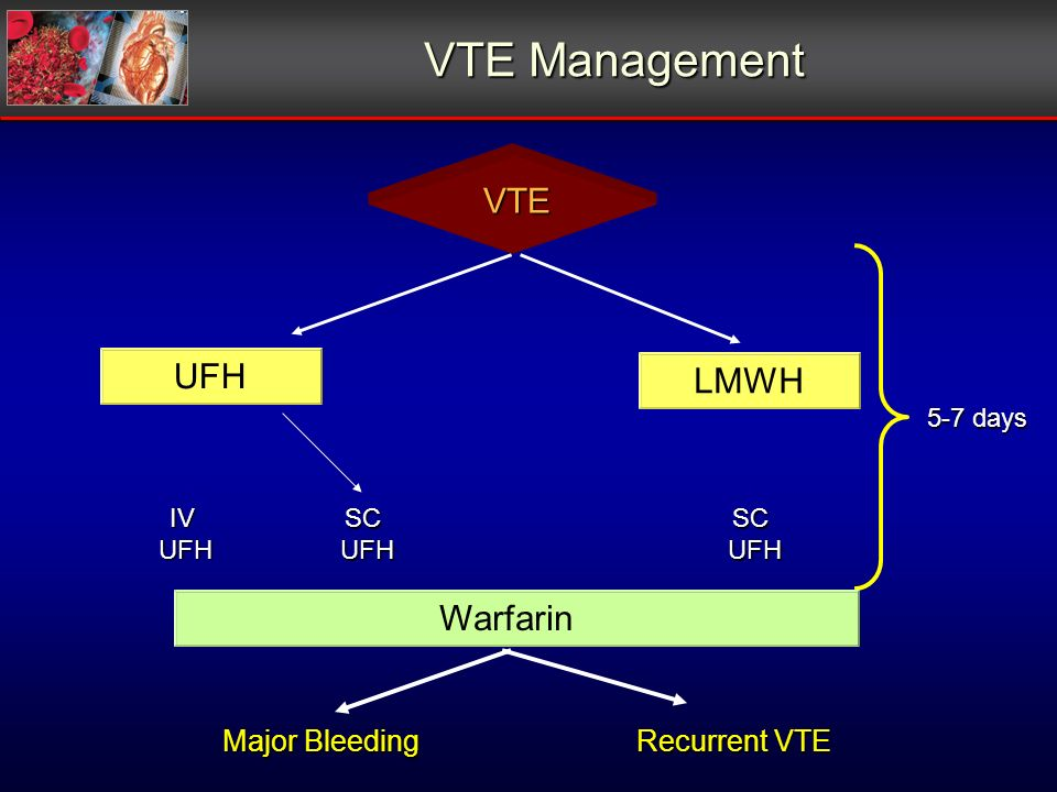 IVUFH SCUFHSCUFH 5-7 days VTE Management Recurrent VTE Major Bleeding UFHLMWHWarfarin VTE