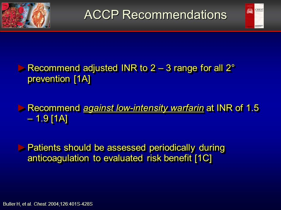 ACCP Recommendations Recommend adjusted INR to 2 – 3 range for all 2° prevention [1A] Recommend adjusted INR to 2 – 3 range for all 2° prevention [1A]