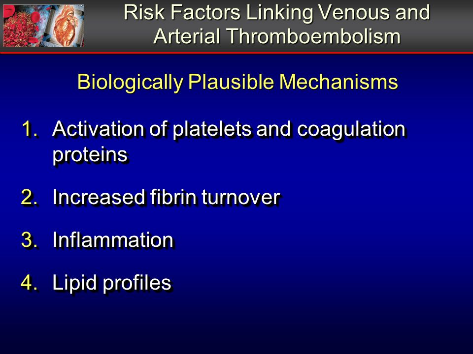 Risk Factors Linking Venous and Arterial Thromboembolism 1.Activation of platelets and coagulation proteins 2.Increased fibrin turnover 3.Inflammation