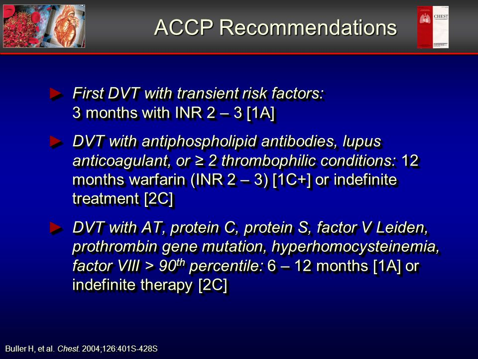 ACCP Recommendations First DVT with transient risk factors: 3 months with INR 2 – 3 [1A] First DVT with transient risk factors: 3 months with INR 2 –