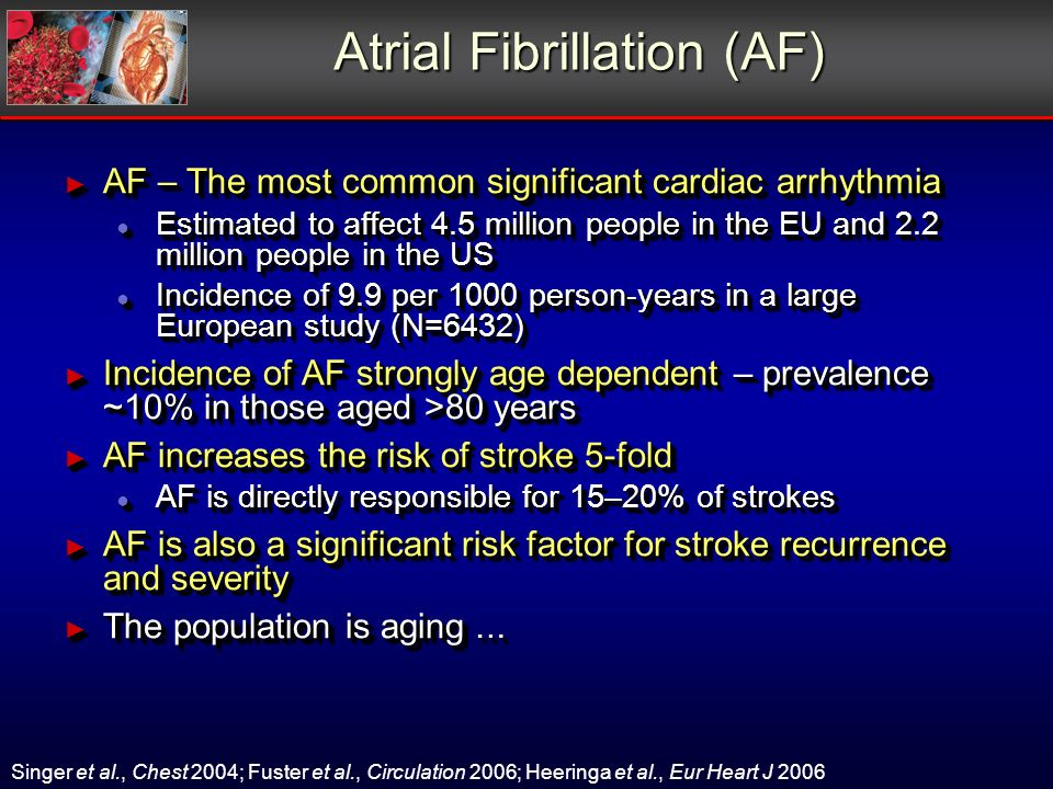 Atrial Fibrillation (AF) AF – The most common significant cardiac arrhythmia AF – The most common significant cardiac arrhythmia Estimated to affect 4