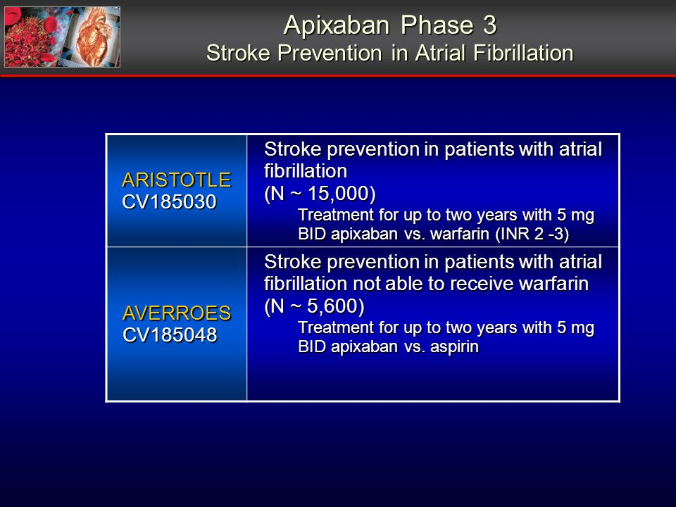 Apixaban Phase 3 Stroke Prevention in Atrial Fibrillation ARISTOTLECV185030 Stroke prevention in patients with atrial fibrillation (N ~ 15,000) Treatment for up to two years with 5 mg BID apixaban vs.