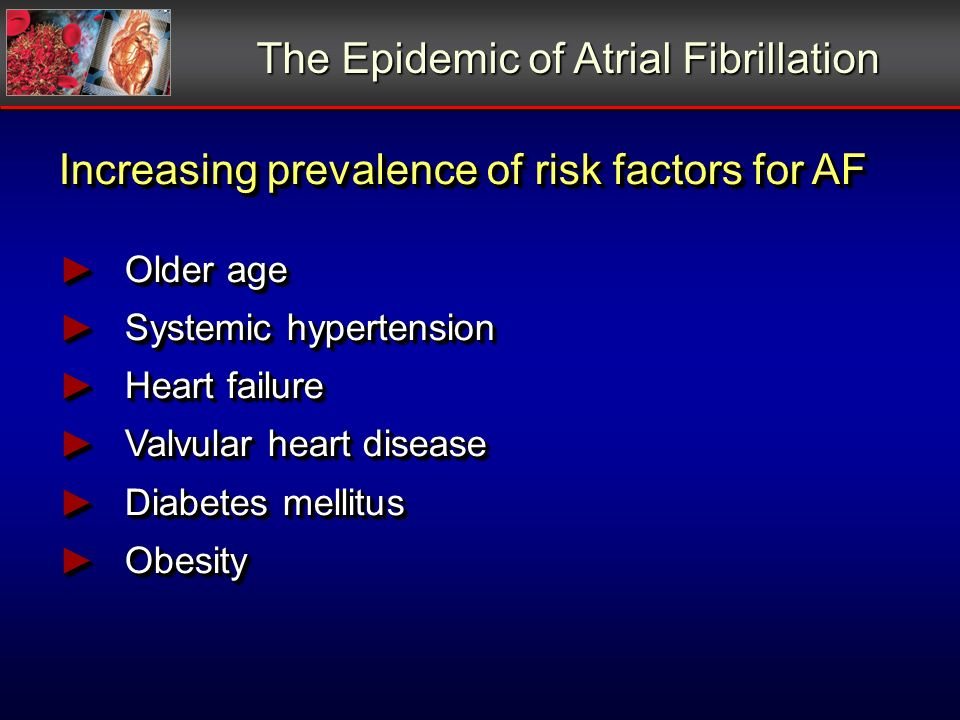 The Epidemic of Atrial Fibrillation Increasing prevalence of risk factors for AF Older age Older age Systemic hypertension Systemic hypertension Heart failure Heart failure Valvular heart disease Valvular heart disease Diabetes mellitus Diabetes mellitus Obesity Obesity Increasing prevalence of risk factors for AF Older age Older age Systemic hypertension Systemic hypertension Heart failure Heart failure Valvular heart disease Valvular heart disease Diabetes mellitus Diabetes mellitus Obesity Obesity