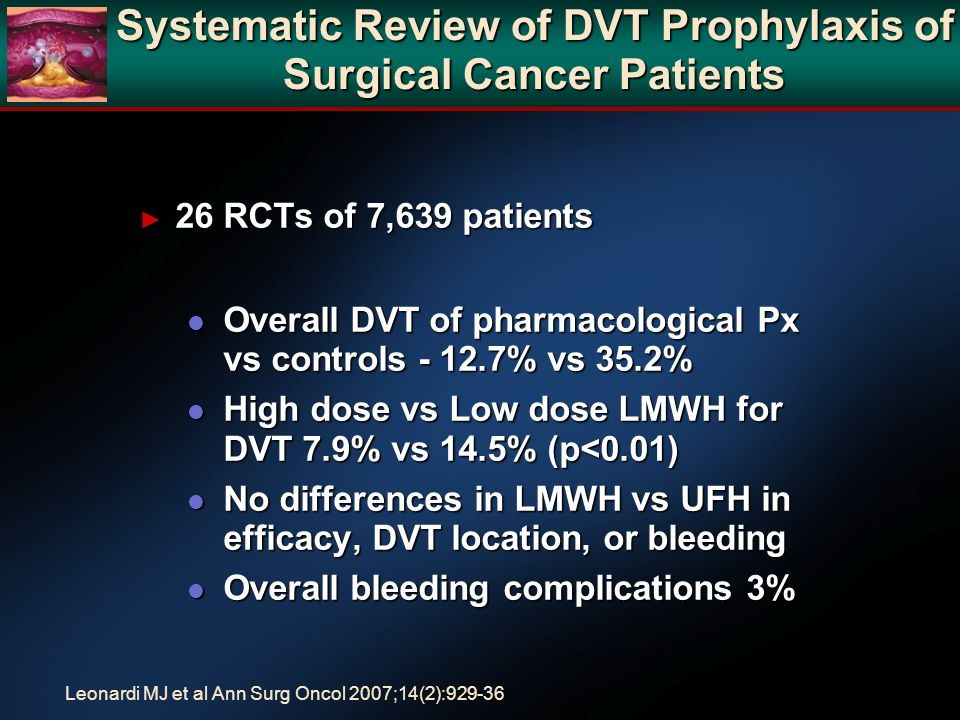 Systematic Review of DVT Prophylaxis of Surgical Cancer Patients 26 RCTs of 7,639 patients 26 RCTs of 7,639 patients l Overall DVT of pharmacological Px vs controls - 12.7% vs 35.2% l High dose vs Low dose LMWH for DVT 7.9% vs 14.5% (p<0.01) l No differences in LMWH vs UFH in efficacy, DVT location, or bleeding l Overall bleeding complications 3% Leonardi MJ et al Ann Surg Oncol 2007;14(2):929-36