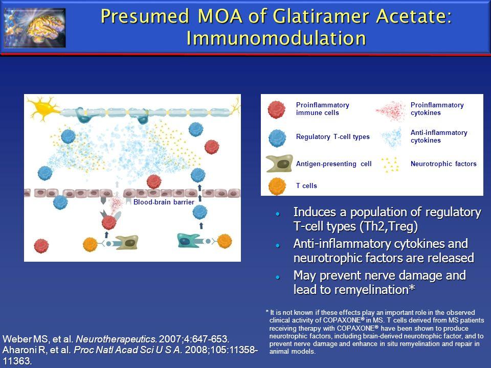 Presumed MOA of Glatiramer Acetate: Immunomodulation Induces a population of regulatory T-cell types (Th2,Treg) Induces a population of regulatory T-c