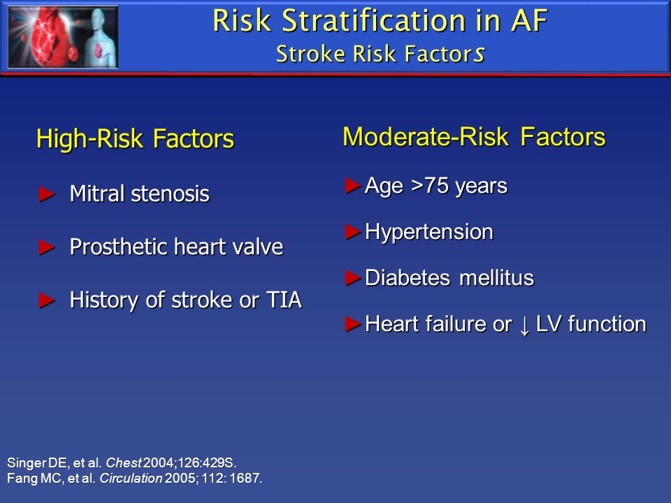 High-Risk Factors Mitral stenosis Mitral stenosis Prosthetic heart valve Prosthetic heart valve History of stroke or TIA History of stroke or TIA Mode
