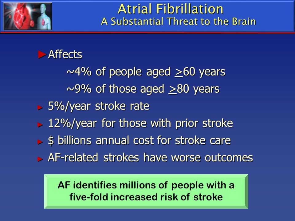 Atrial Fibrillation A Substantial Threat to the Brain Affects Affects ~4% of people aged >60 years ~9% of those aged >80 years ~9% of those aged >80 y