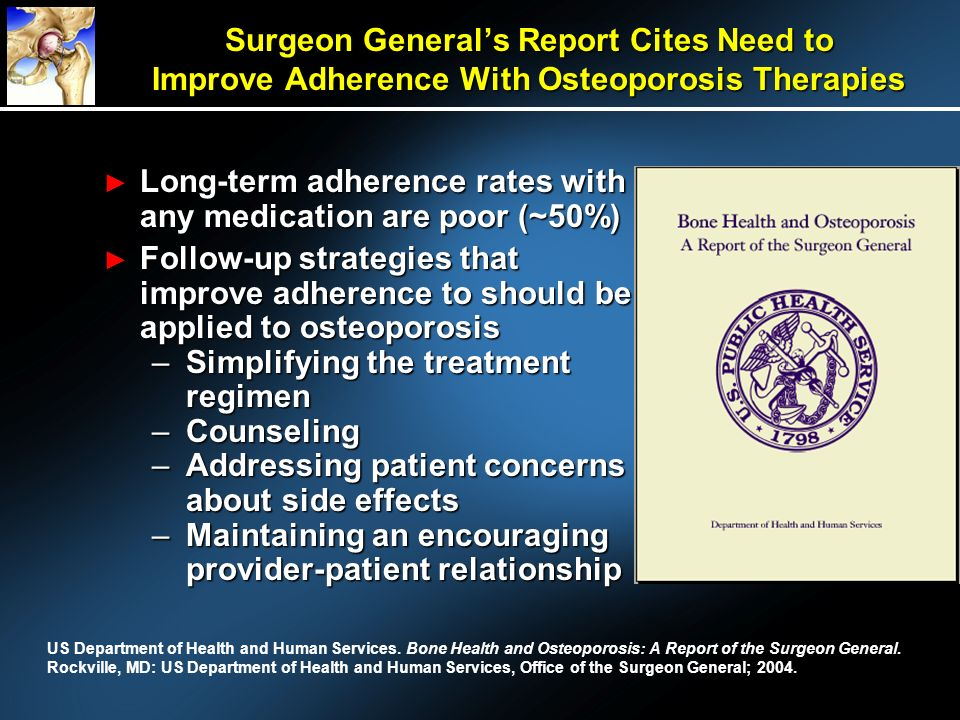 Surgeon Generals Report Cites Need to Improve Adherence With Osteoporosis Therapies Long-term adherence rates with any medication are poor (~50%) Long