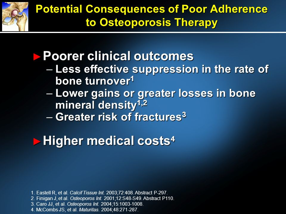 Potential Consequences of Poor Adherence to Osteoporosis Therapy Poorer clinical outcomes Poorer clinical outcomes –Less effective suppression in the