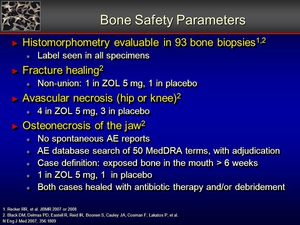Bone Safety Parameters Histomorphometry evaluable in 93 bone biopsies 1,2 Histomorphometry evaluable in 93 bone biopsies 1,2 Label seen in all specime