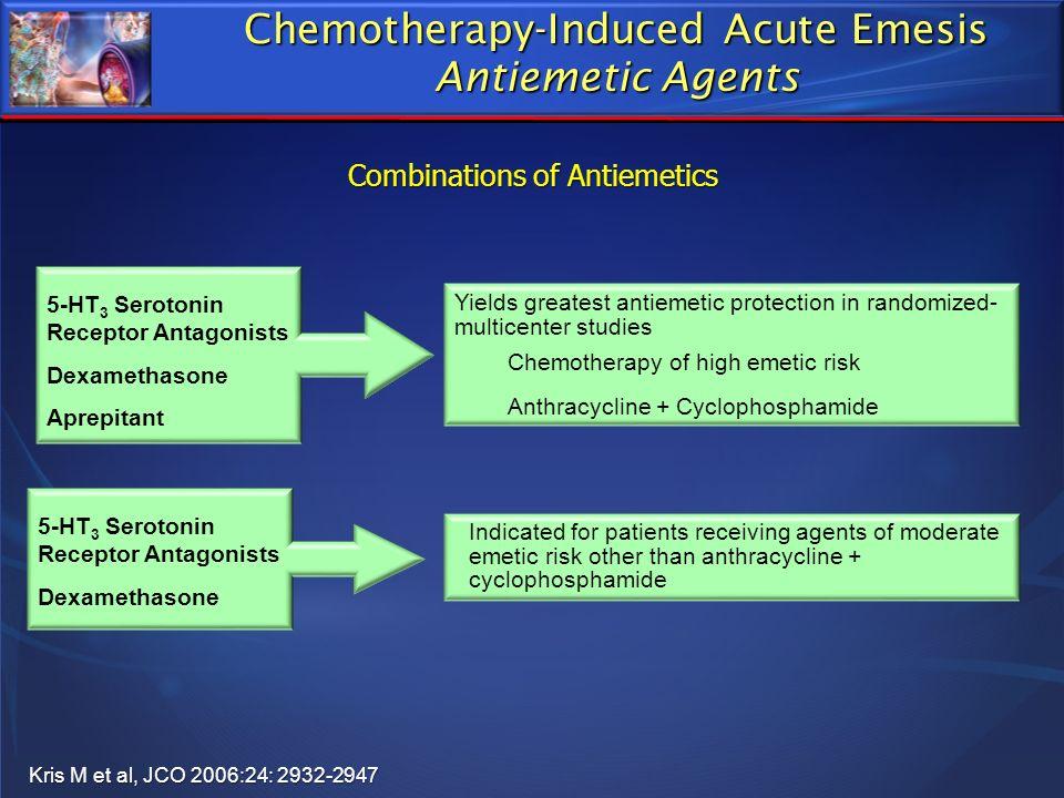 Chemotherapy-Induced Acute Emesis Antiemetic Agents 5-HT 3 Serotonin Receptor Antagonists Dexamethasone Aprepitant Yields greatest antiemetic protecti