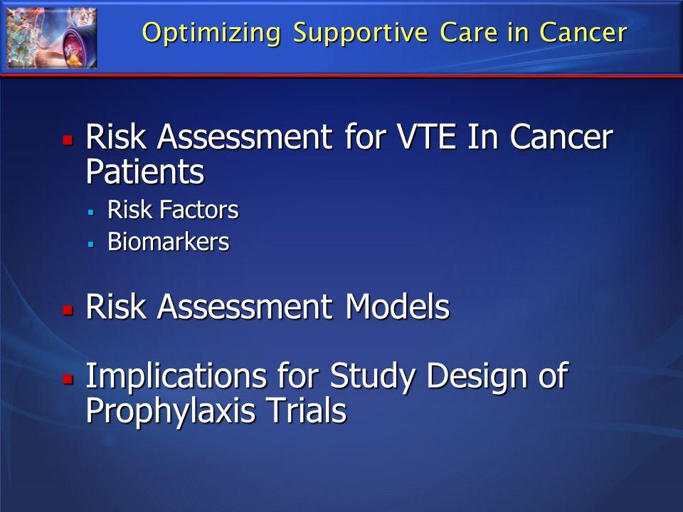 Risk Assessment for VTE In Cancer Patients Risk Assessment for VTE In Cancer Patients Risk Factors Risk Factors Biomarkers Biomarkers Risk Assessment