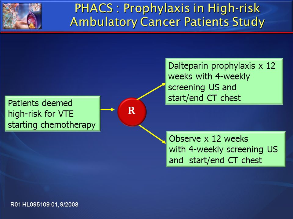 PHACS : Prophylaxis in High-risk Ambulatory Cancer Patients Study R Dalteparin prophylaxis x 12 weeks with 4-weekly screening US and start/end CT ches