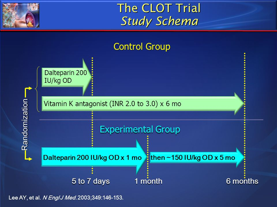 5 to 7 days Dalteparin 200 IU/kg OD Vitamin K antagonist (INR 2.0 to 3.0) x 6 mo Control Group Dalteparin 200 IU/kg OD x 1 mo then ~150 IU/kg OD x 5 m