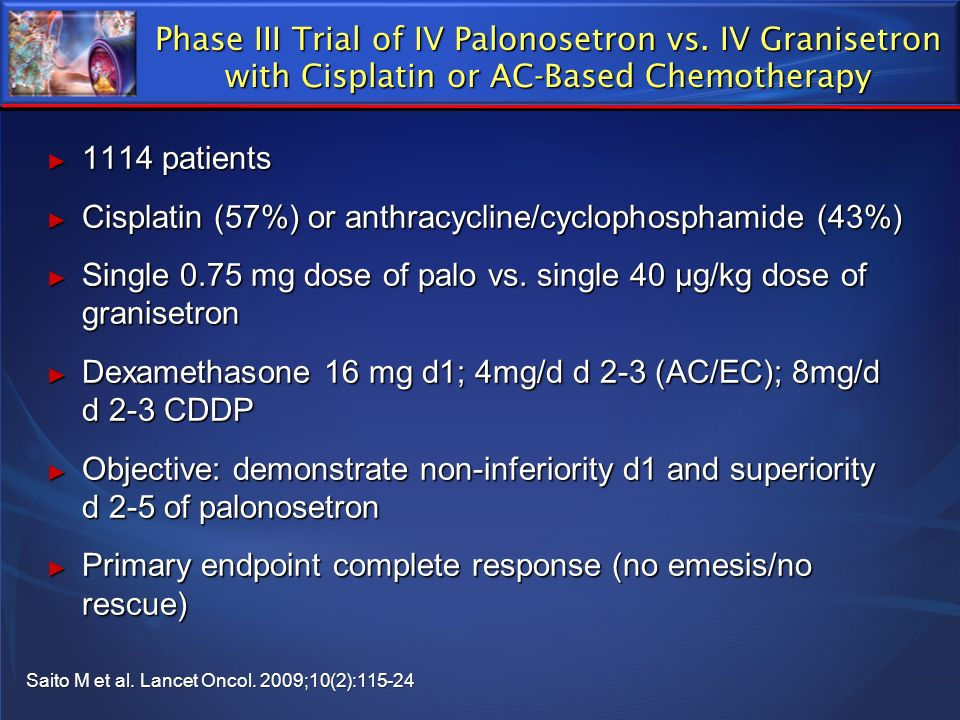 Phase III Trial of IV Palonosetron vs. IV Granisetron with Cisplatin or AC-Based Chemotherapy 1114 patients 1114 patients Cisplatin (57%) or anthracyc