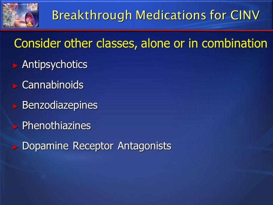 Breakthrough Medications for CINV Antipsychotics Antipsychotics Cannabinoids Cannabinoids Benzodiazepines Benzodiazepines Phenothiazines Phenothiazine