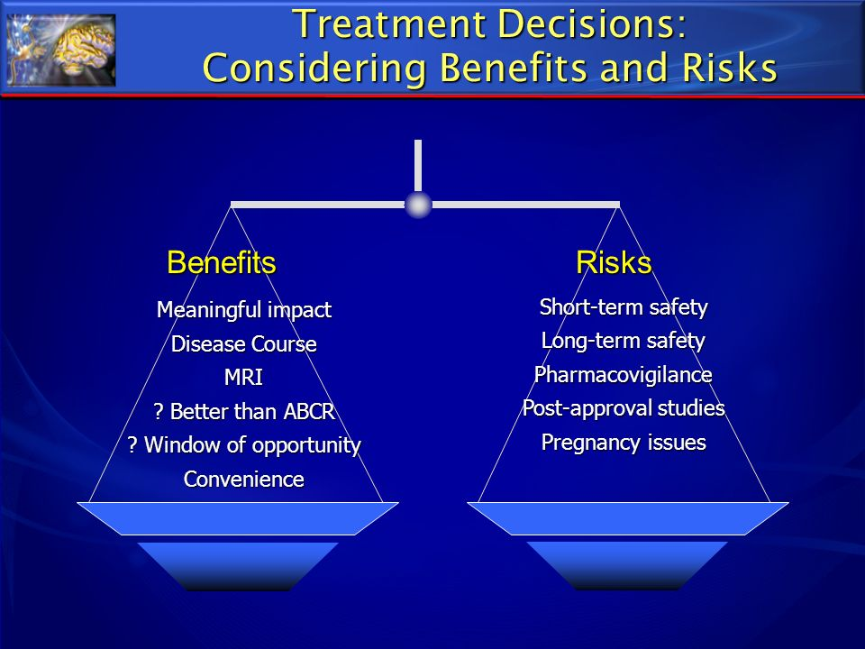 Meaningful impact Disease Course MRI ? Better than ABCR ? Window of opportunity Convenience Benefits Risks Benefits Risks Treatment Decisions: Conside