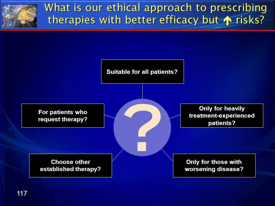 117 What is our ethical approach to prescribing therapies with better efficacy but risks? Suitable for all patients? Only for heavily treatment-experi