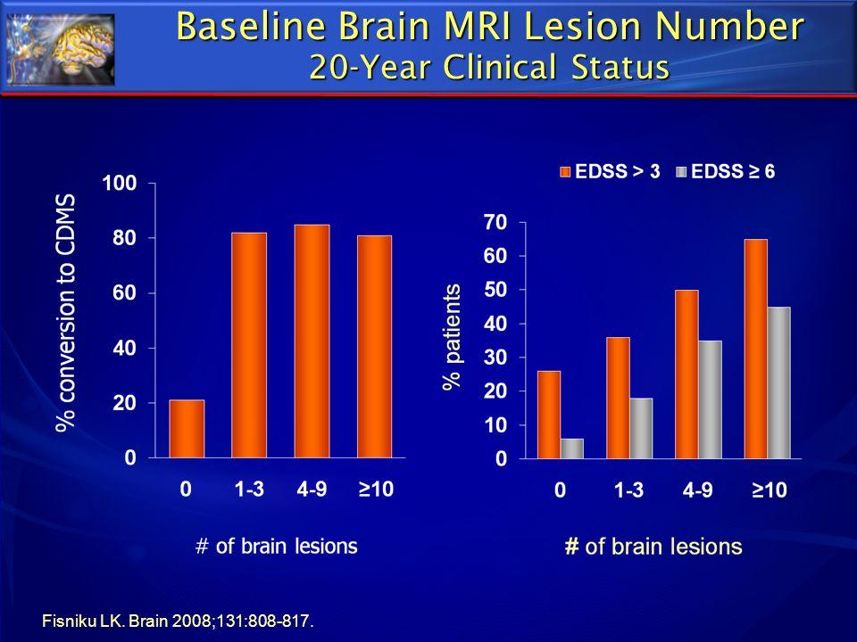 Baseline Brain MRI Lesion Number 20-Year Clinical Status Fisniku LK. Brain 2008;131:808-817.