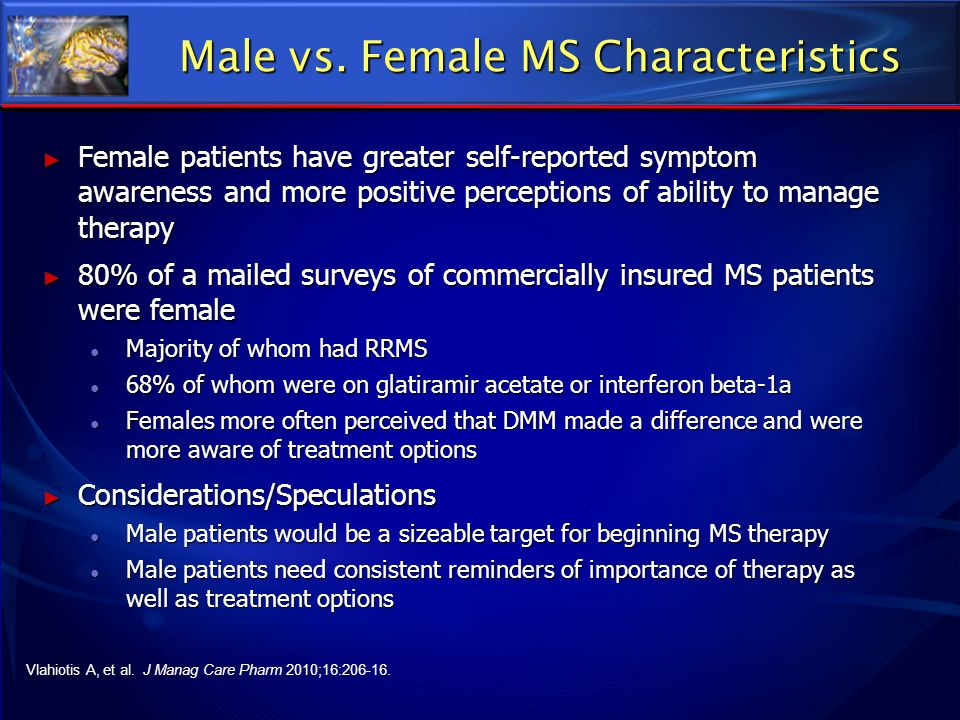 Male vs. Female MS Characteristics Female patients have greater self-reported symptom awareness and more positive perceptions of ability to manage the