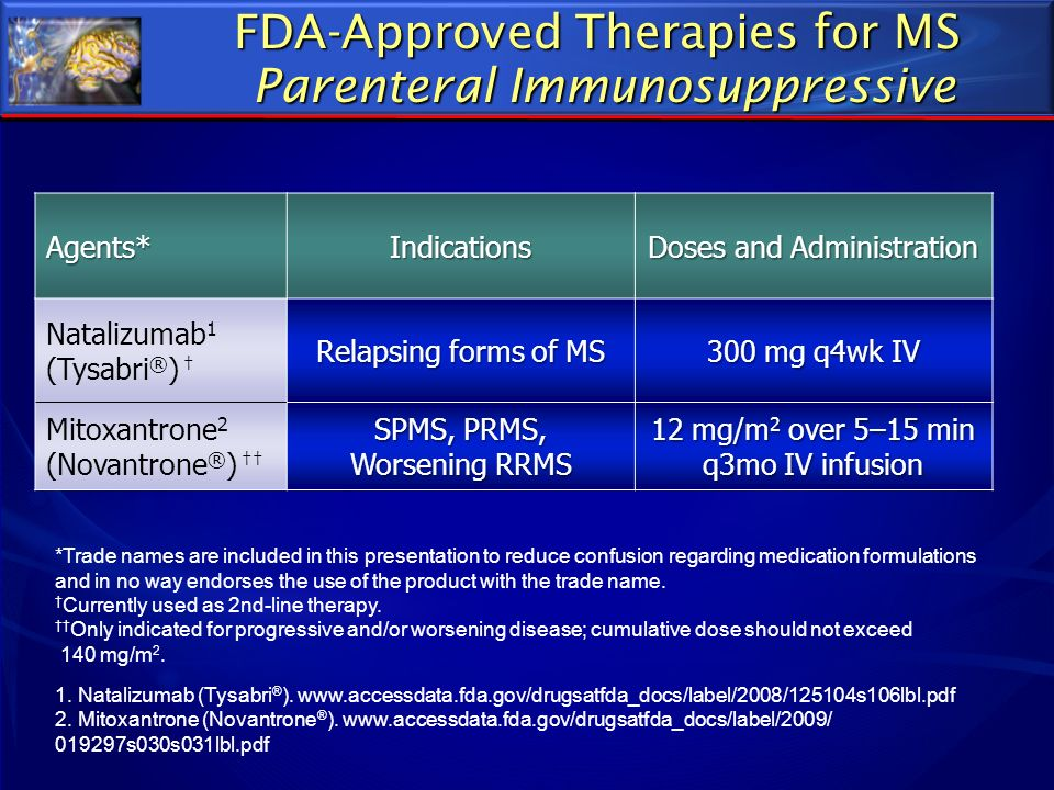 FDA-Approved Therapies for MS Parenteral Immunosuppressive Agents*Indications Doses and Administration Natalizumab 1 (Tysabri ® ) Relapsing forms of M