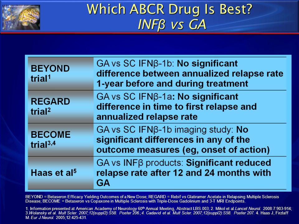 Which ABCR Drug Is Best? INF β vs GA BEYOND = Betaseron Efficacy Yielding Outcomes of a New Dose; REGARD = Rebif vs Glatiramer Acetate in Relapsing Mu